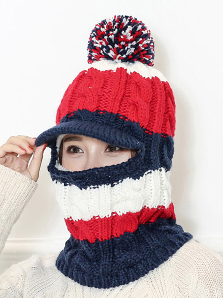 Women Wool Warm Knit Hat Winter Outdoor Cycling Hat Scarf One Plus Velvet Thickening Earmuffs Hat