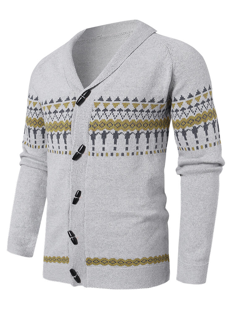 Mens Vintage Pattern Knit Button Front Casual Raglan Sleeve Cardigans