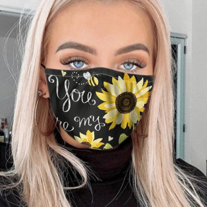 PM2.5 7-piece Gasket Daisy Gasket Sunflower Print Anti-fog Dust-proof Masks
