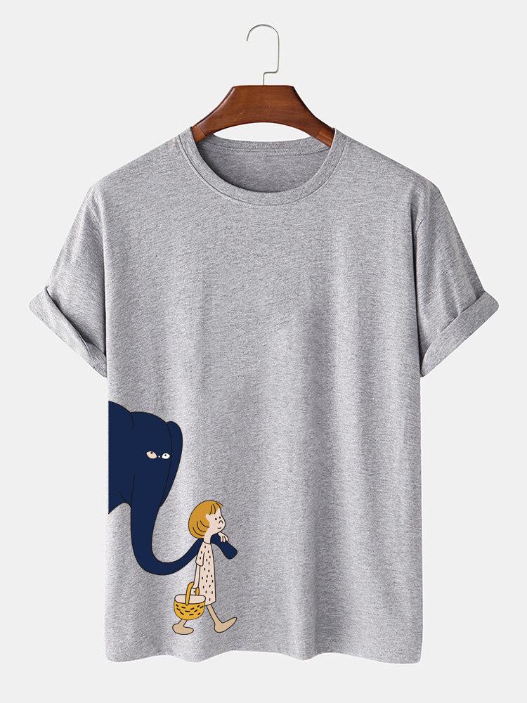 Mens Cartoon Elephant Girl Print Cotton Plain Daily Thin T Shirts On Sale Newchic