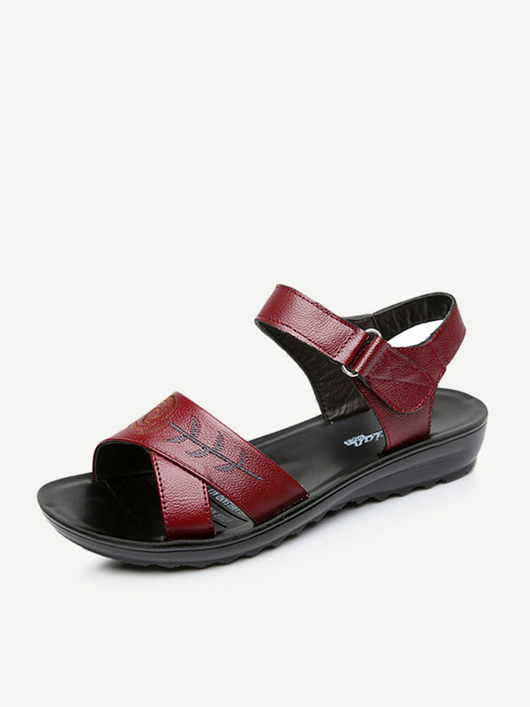 Embroidery Hook Loop Leather Sandals