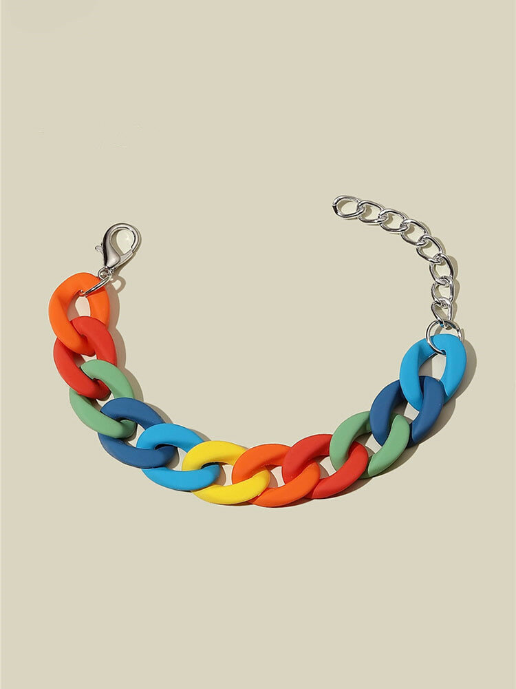 Ins Vintage Acrylic Rainbow Colorful Chain Resin Bracelet