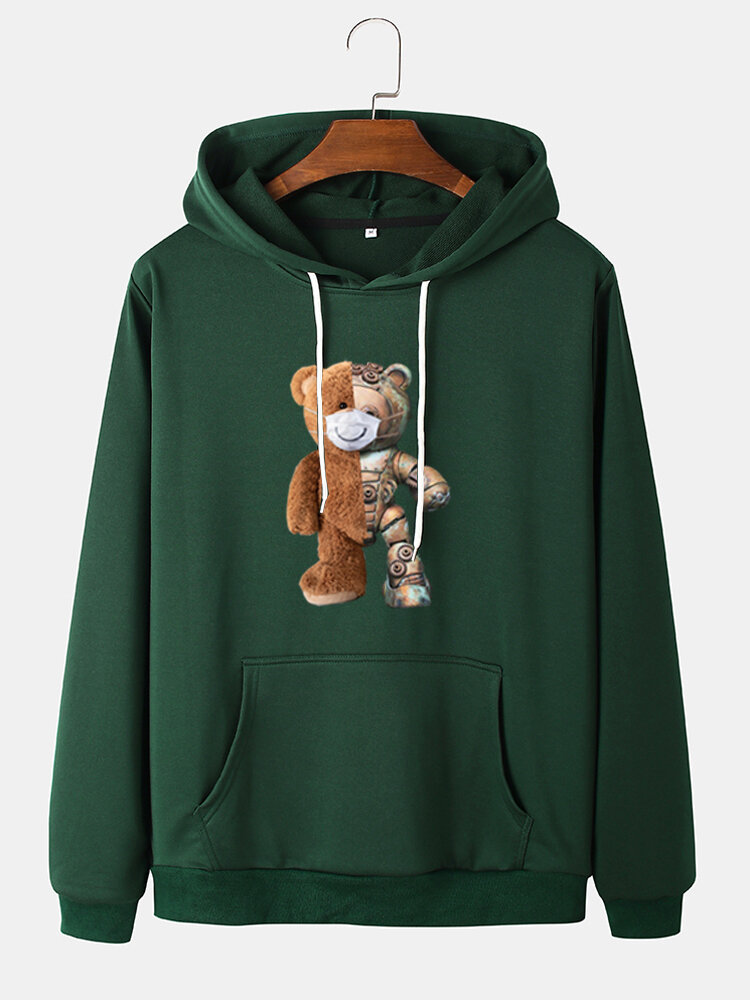 Mens Cartoon Bear Graphic Cotton Drawstring Hoodies With Pouch Pocket