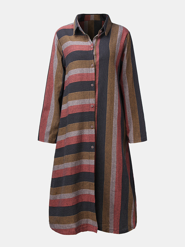 Striped Print Button Long Sleeve Casual Dress for Women