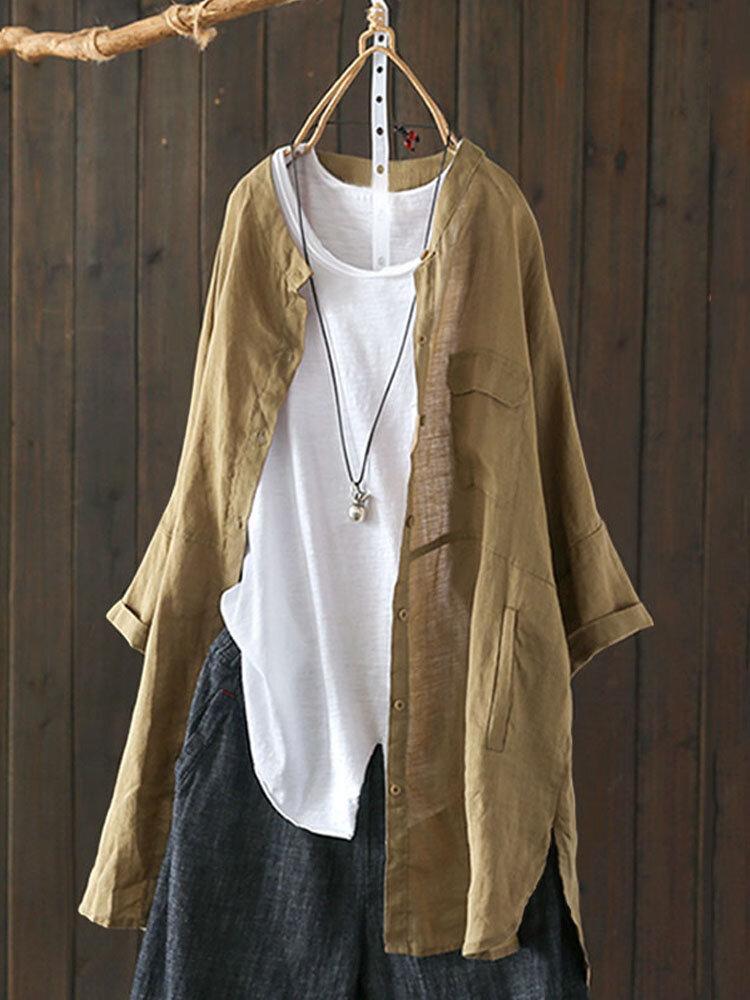 Vintage Solid Color High Low Plus Size Long Shirt