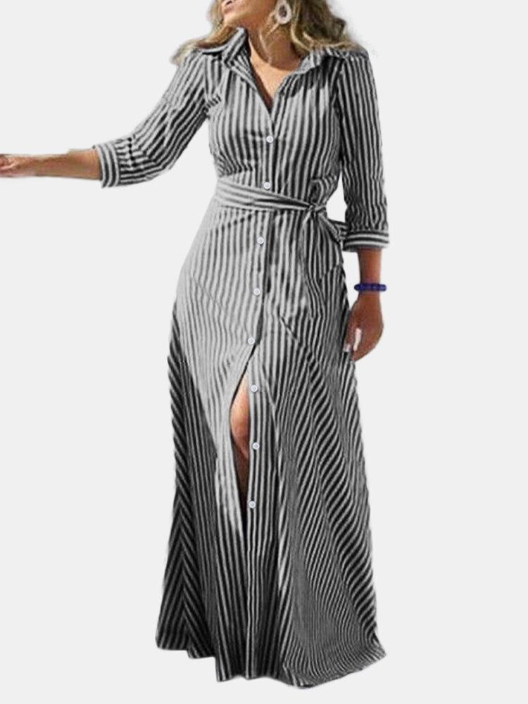 Striped Print Waistband Button Long Sleeve Casual Dress for Women