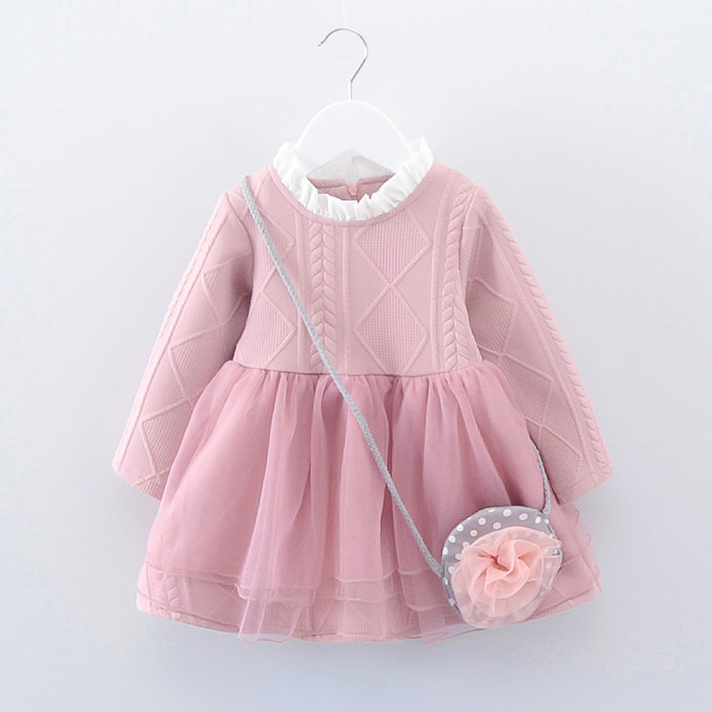Lace Patch Girls Long Sleeve Sweater Dress For 1-5Years