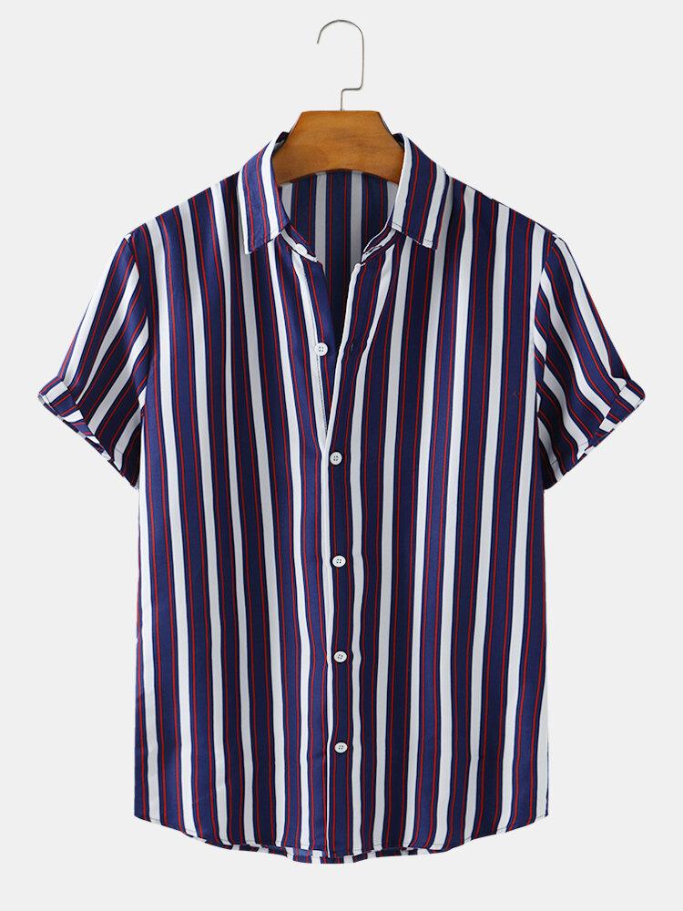 Mens Colored Stripe Printed Casual Short Sleeve Designer Shirts