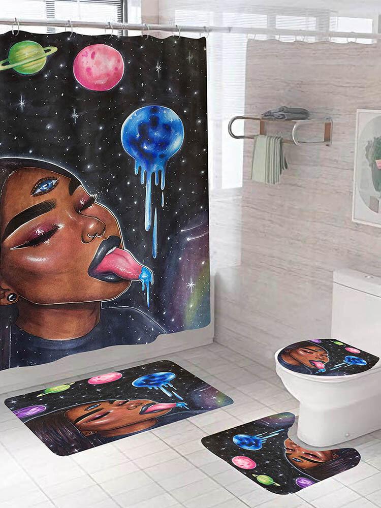 African Girls Printing Bathroom Shower Curtain Set Toilet Cover Mat Bathroom Non-Slip Mat Rug Kit