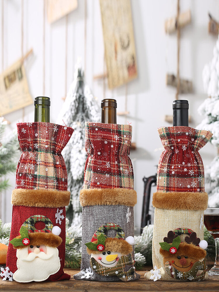 Newchic coupon: 1 Pc Christmas Plaid Wine Bottle Bag Snowman Red Wine Champagne Christmas Table Decorations