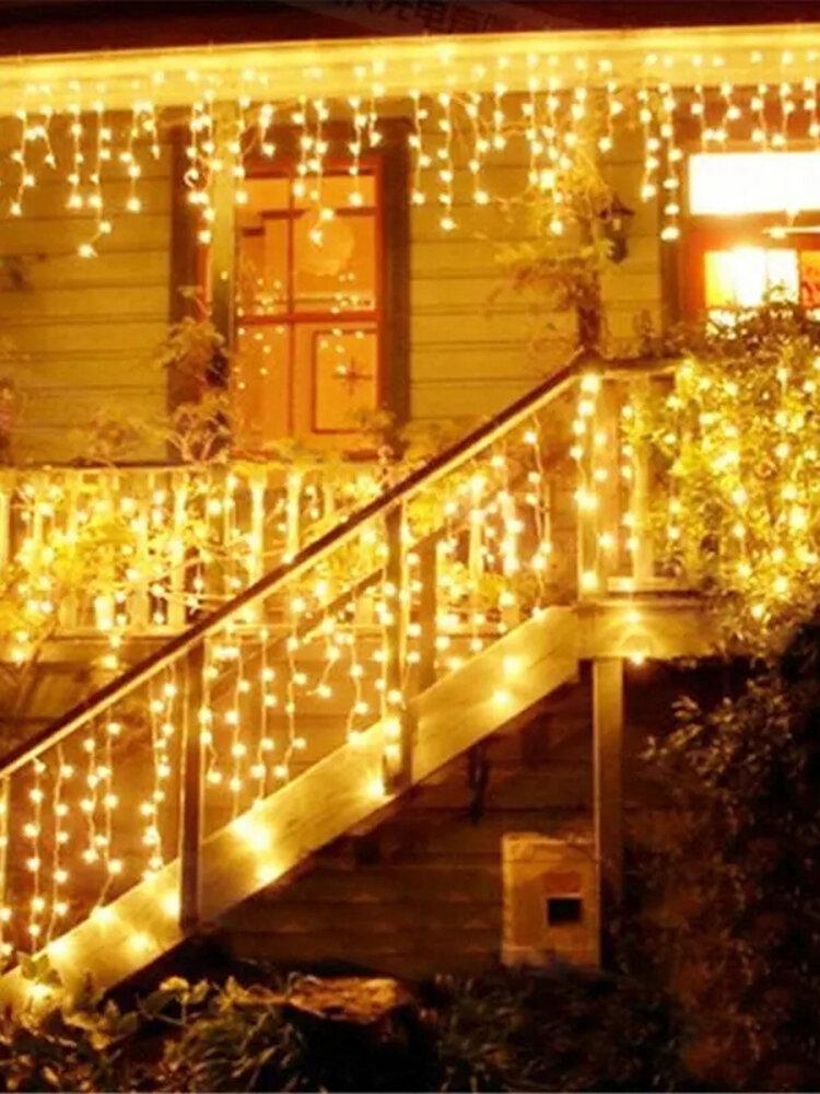 Guirnalda de Navidad LED Cortina Cadena de luces de carámbano Guirnalda Luz de hadas de Navidad al aire libre Decoración de fiesta