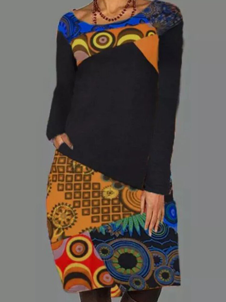 Ethnic Pattern Patchwork Casual Print Dress For Women