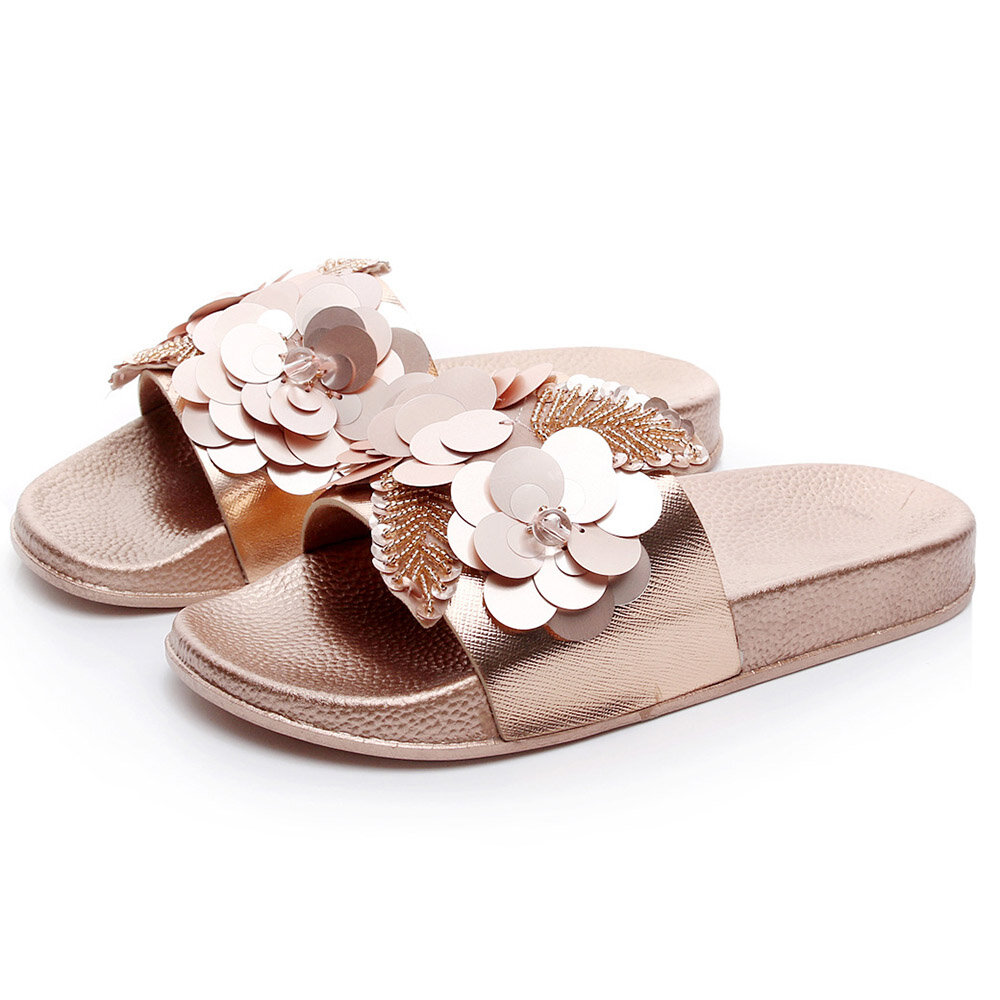 Flowers Sandals Sequin On Flat Slip Ajq35L4R