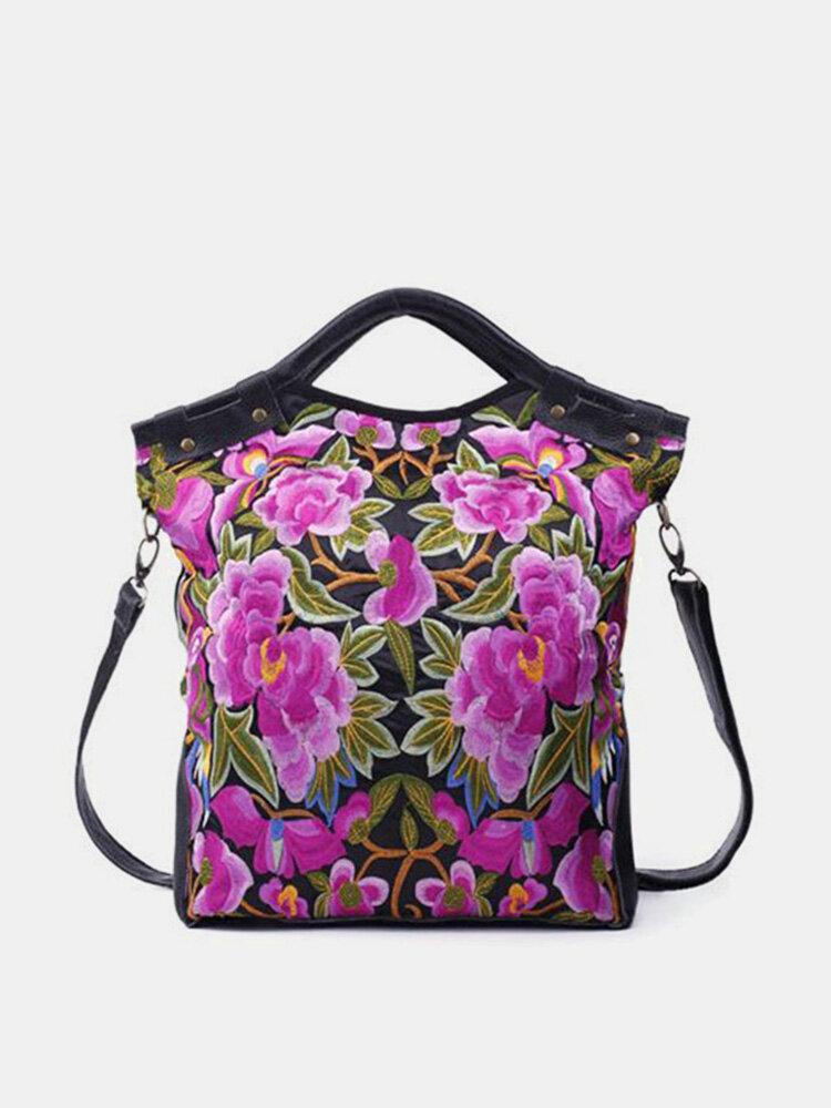 National Style Flower Pattern Handbag Shoulder Bag Crossbody Bag