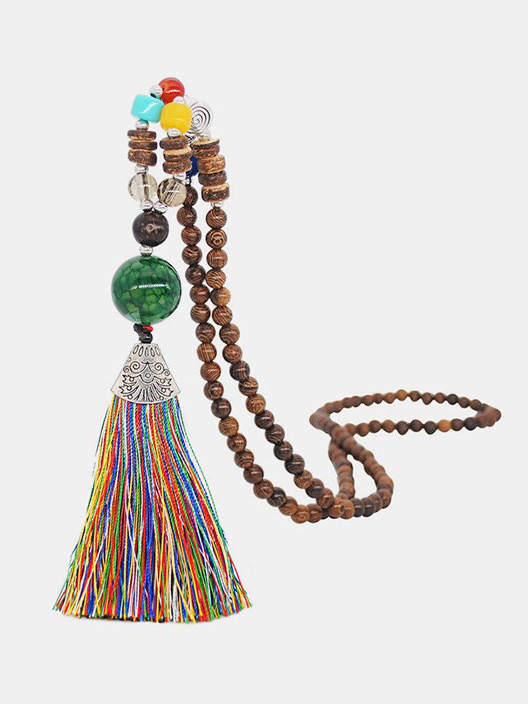 Vintage Buddha Wood Beads Long Necklace Ethnic Geometric Tassel Pendant Sweater Chain
