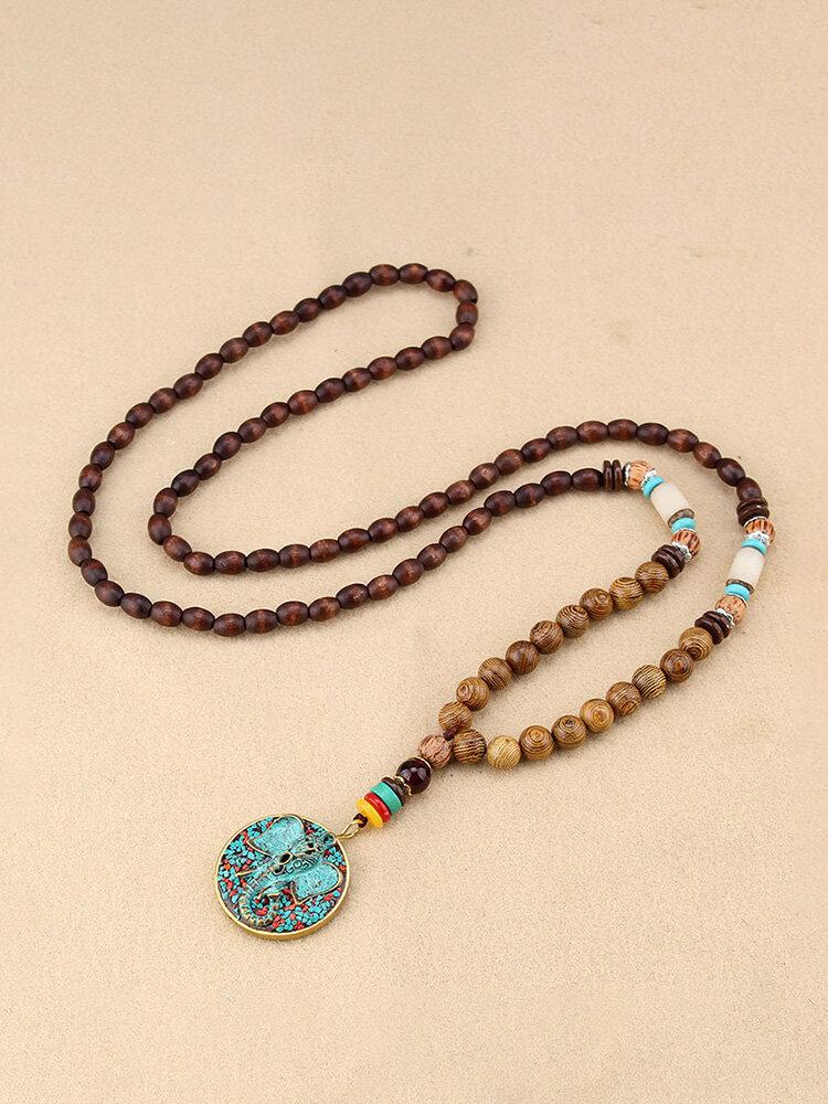 Ethnic Blue Beads Necklace Long-Style Pendant Necklace For Women Men