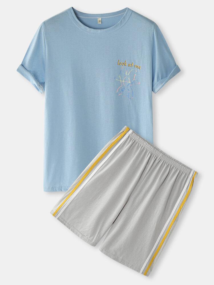 Mens Cartoon Bear Print Side Stripe Cotton Pajamas Sets With Pocket