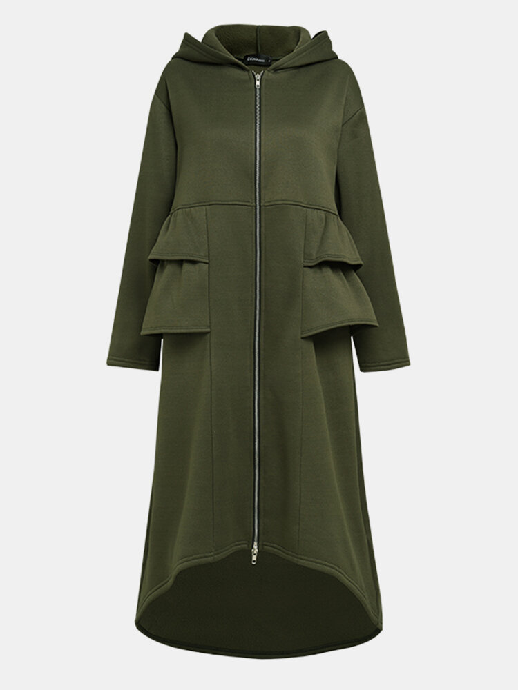 Solid Color Pleated Stiching Front Zipper Irregular Jacket Hooded Coat