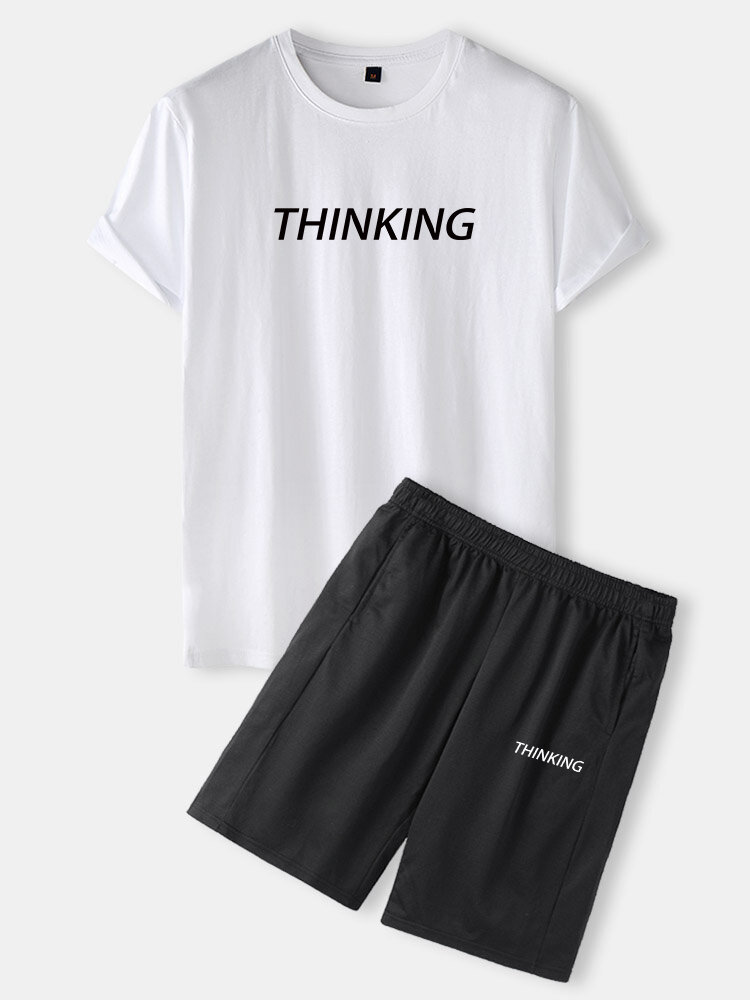 Mens Thinking Letter Print Black & White Casual Two Pieces Outfits