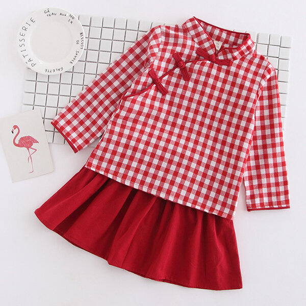 Chinese Style Girls Skirt Set Toddler Girls Clothing Set Tops + Skirt Set For 2Y-9Y