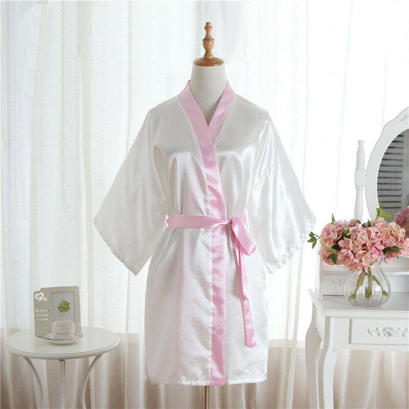 Pure Color Short Nightgown Kimono Thin Sexy Bathrobes Soft and Comfortable