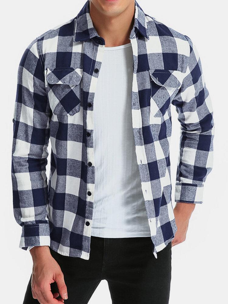 Mens Cotton Dual Pocket Long Sleeve Check Shirt