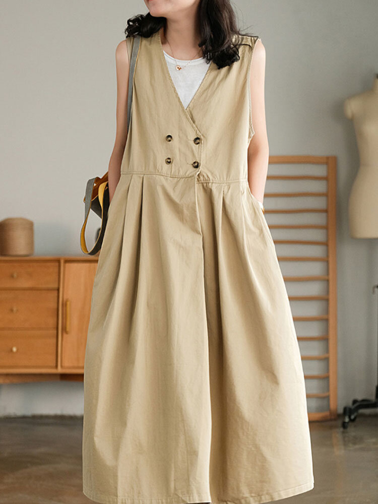 Solid Color V-neck Sleeveless Double Breasted Pocket Loose Casual Dress