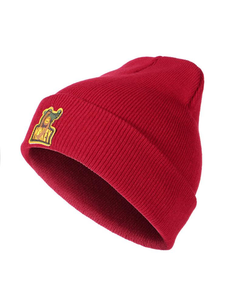 Mens Women Monkey Logo Warm Knitted Hats Winter Outdoor Ski Flexible Lazy Skullies Beanies Caps