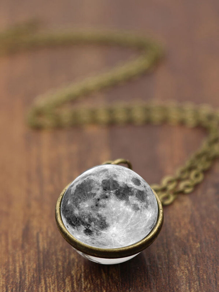 Double-Sided Glass Ball Women Necklace Gray Moon Pendant Necklace Jewelry