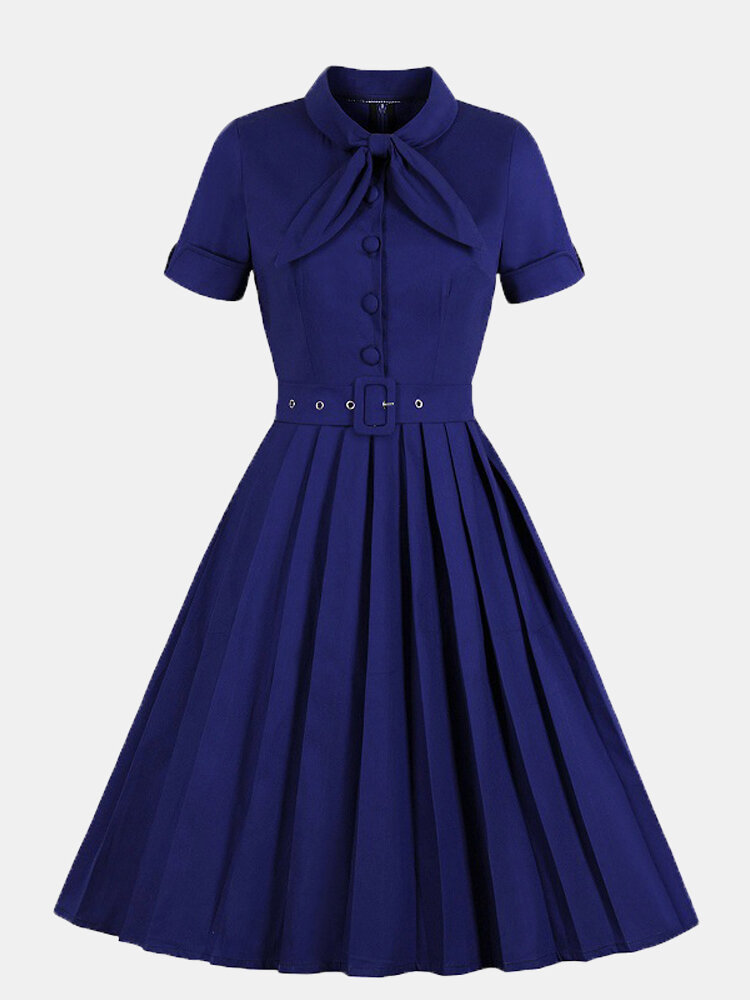 Solid Color Stand Collar Bowknot Short Sleeve Plus Size Dress for Women