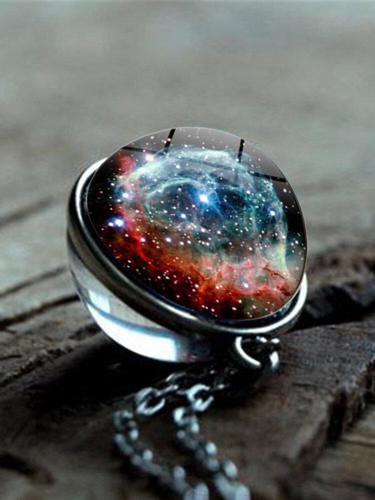 Double-Sided Glass Ball Women Necklace Universe Galaxy Nebula Pendant Necklace Jewelry
