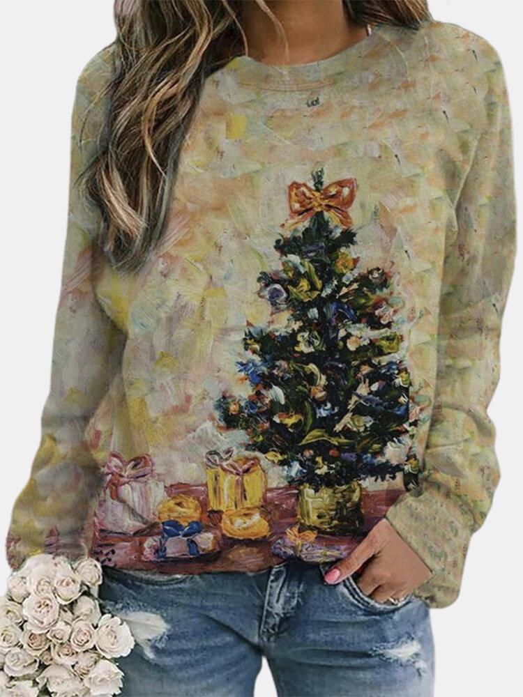 Christmas Print Long Sleeves O-neck Casual Sweatshirt For Women
