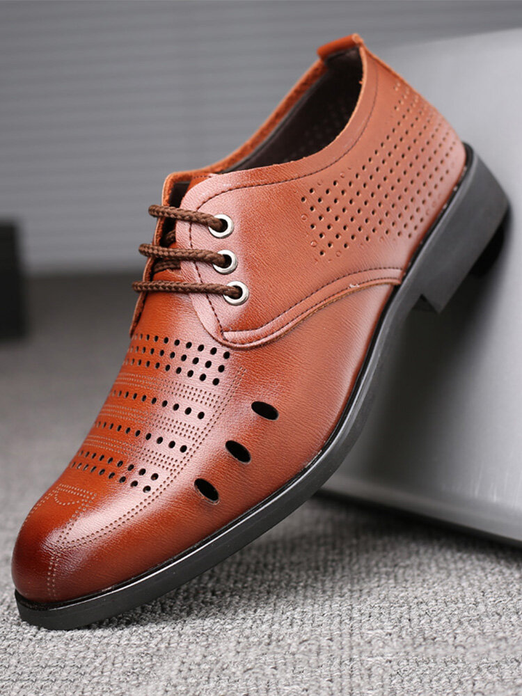 Men Hole Breathable Microfiber Leather Business Casual Dress Shoes