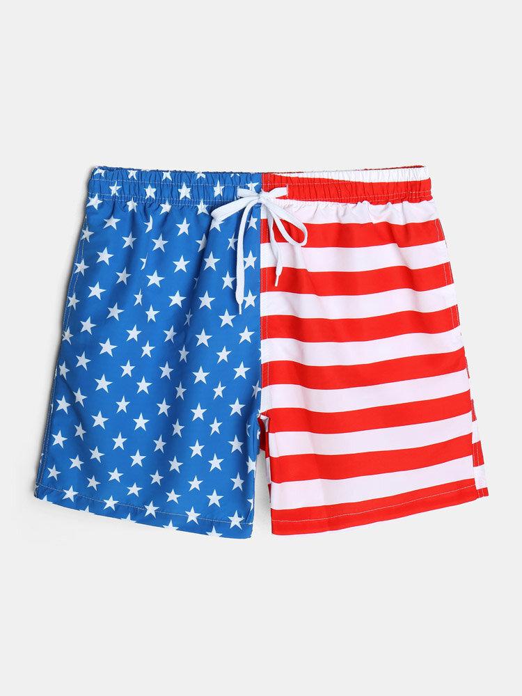 Mens American Flag Print Breathable Lined Casual Drawstring Swim Trunks