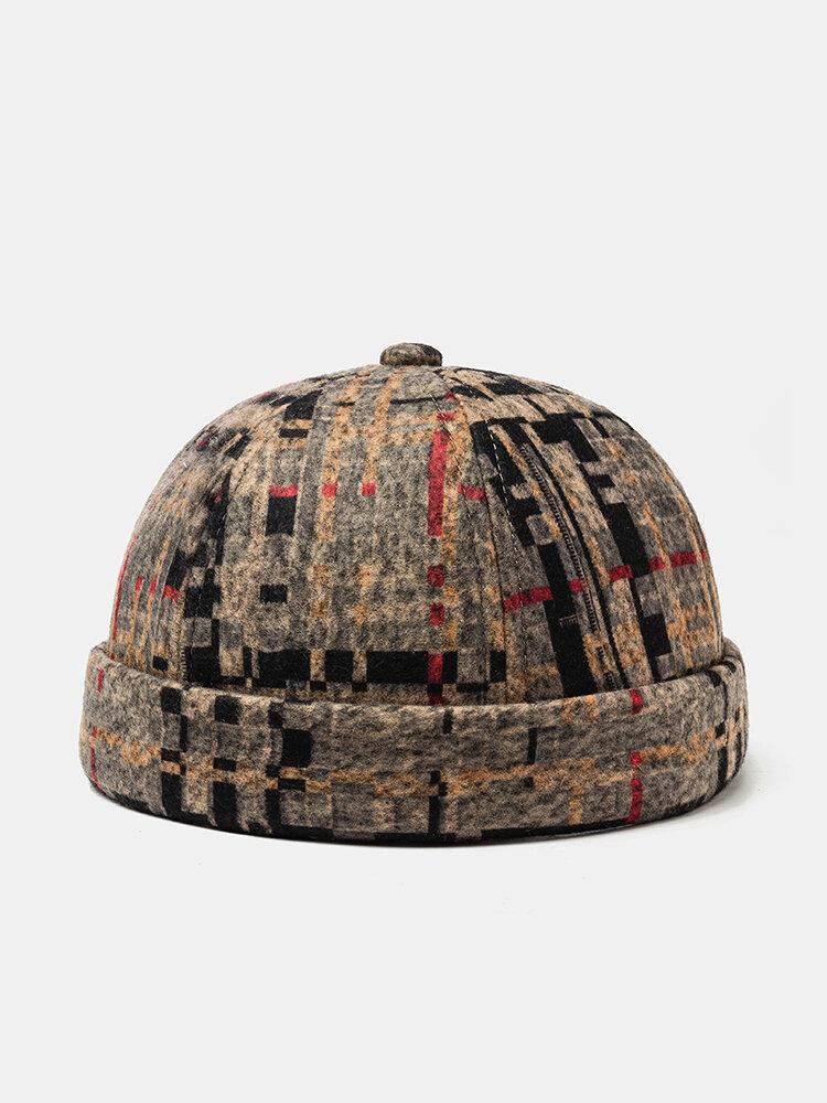 Men & Women Plush Soft Fabric Skull Caps Plaid Stitching Hat Brimless Hats