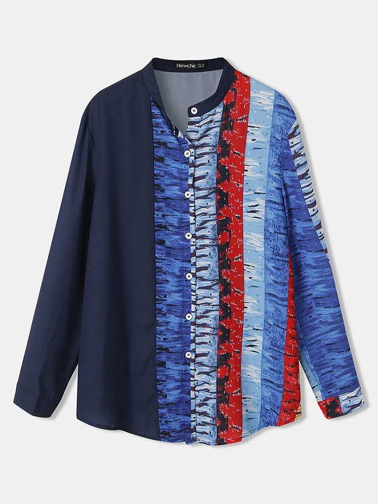Contrast Color Stand Collar Long Sleeve Button Women Blouse