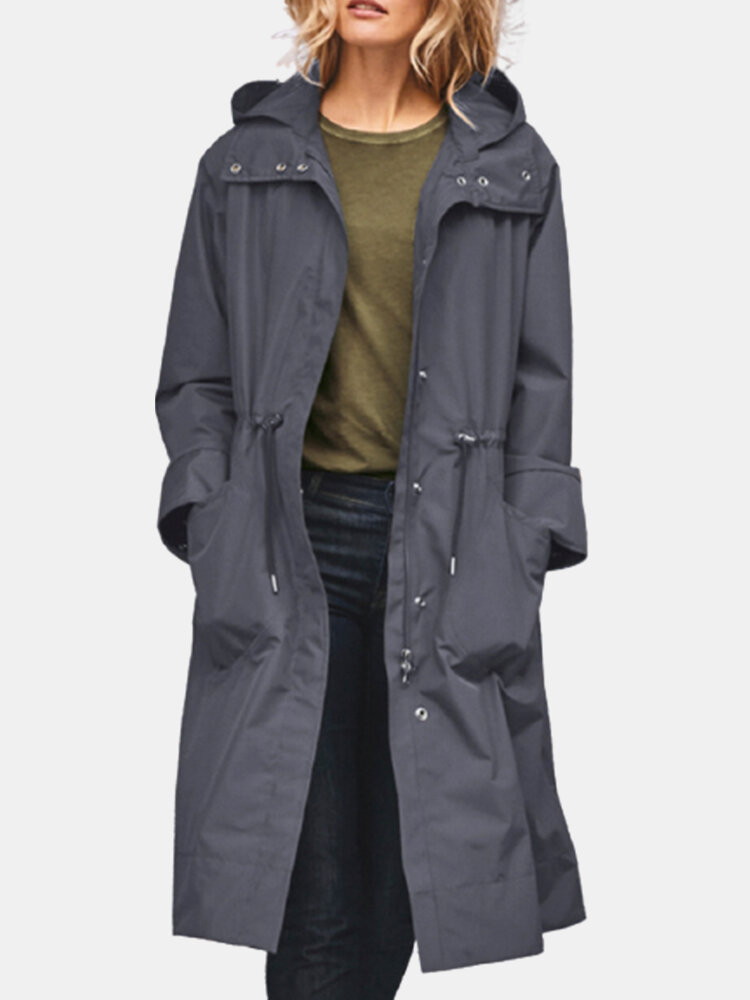 Elastic Waist Casual Long Sleeve Hooded Plus Size Trench Coat