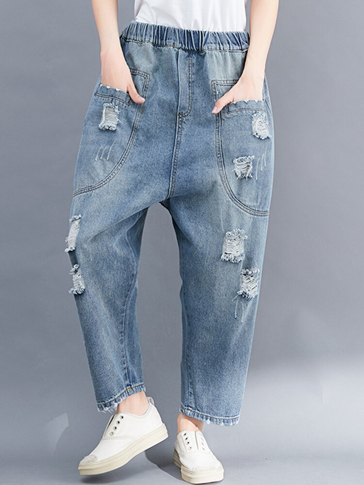 Solid Color Elastic Waist Casual Ripped Jeans For Women