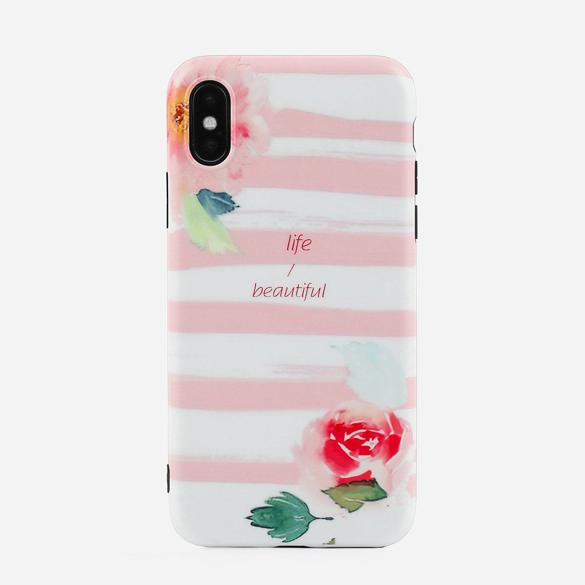 Unisex Woman Striped Pink Cute TPU Soft Shell Phone Case For iPhone