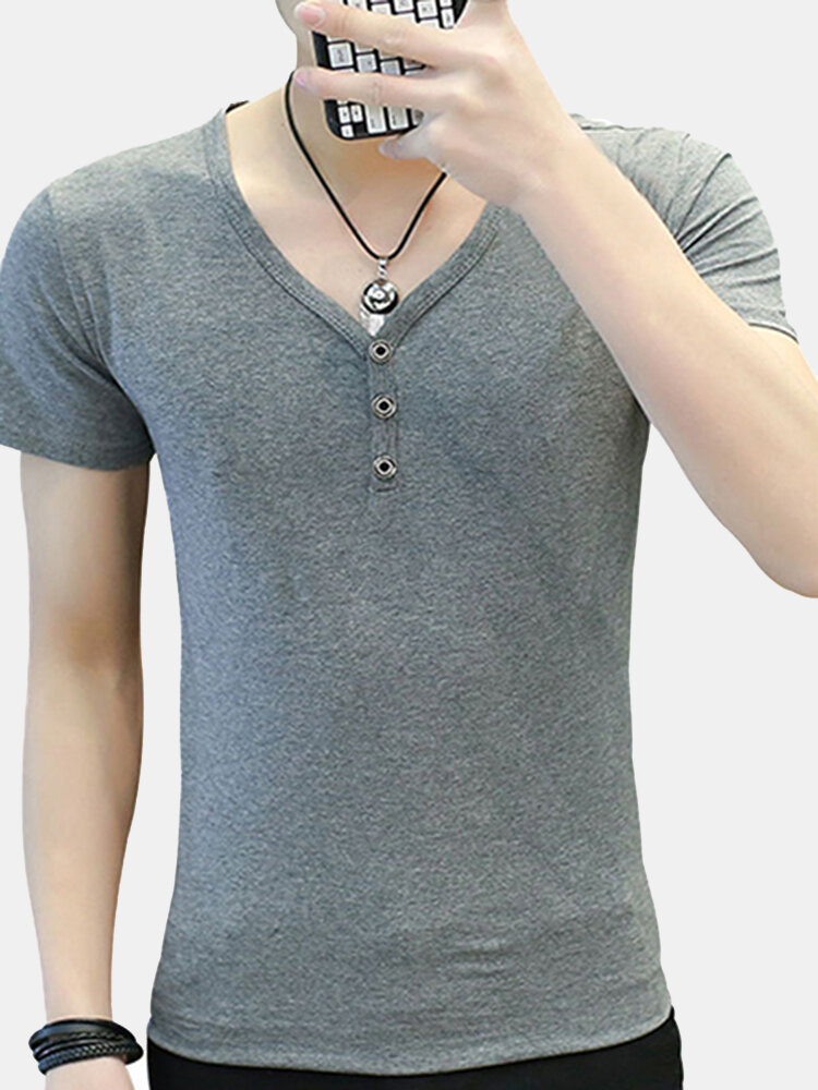 Men/'s Summer Casual Retro Tee Long Sleeve V Neck Shirt Buttons Solid Tops Blouse
