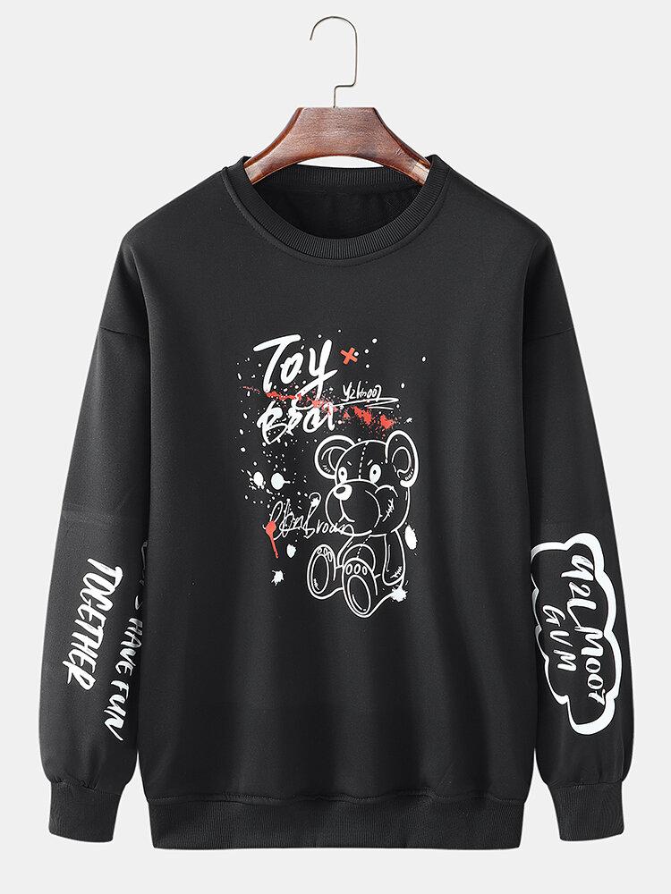 Mens Toy Bear Letter Sleeve Print Crew Neck Cotton Loose Sweatshirts