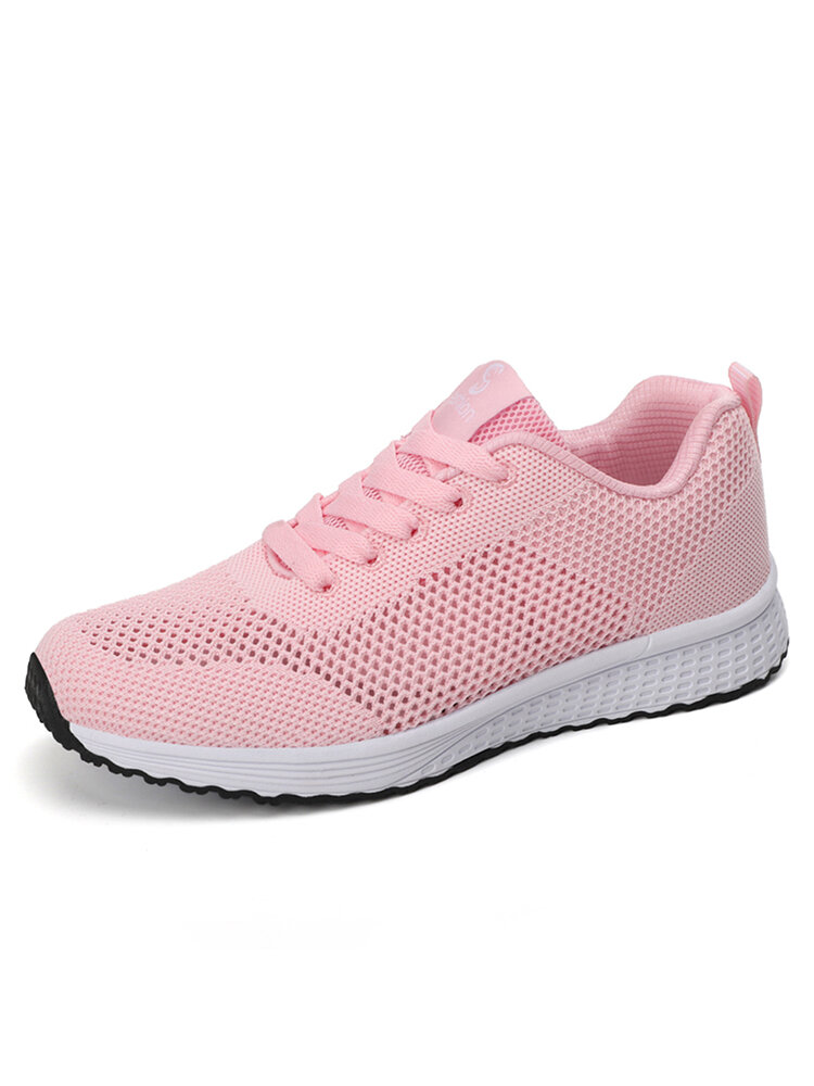 Women Casual Breathable Knitted Lace Up Flat Walking Shoes