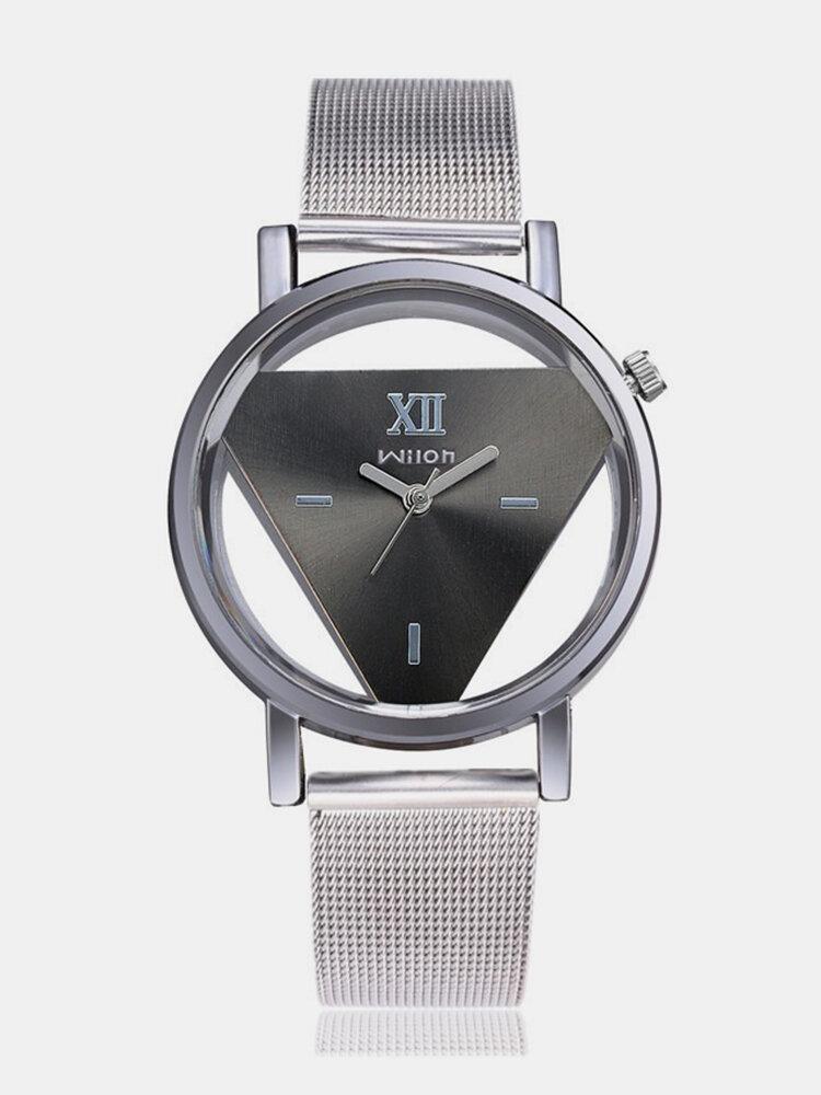 ファッション三角形クォーツ時計両面中空時計ステンレス鋼女性時計