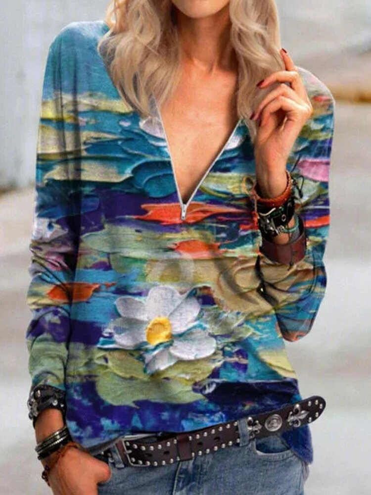 Casual Floral Printed V-neck Zipper Long Sleeve Blouse