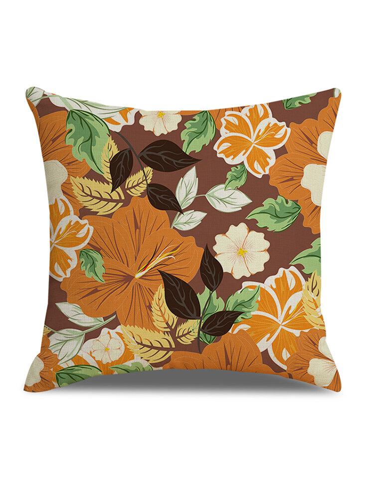 Refreshing Vintage Floral Linen Cushion Cover Home Sofa Office Waist Soft Throw Pillowcases
