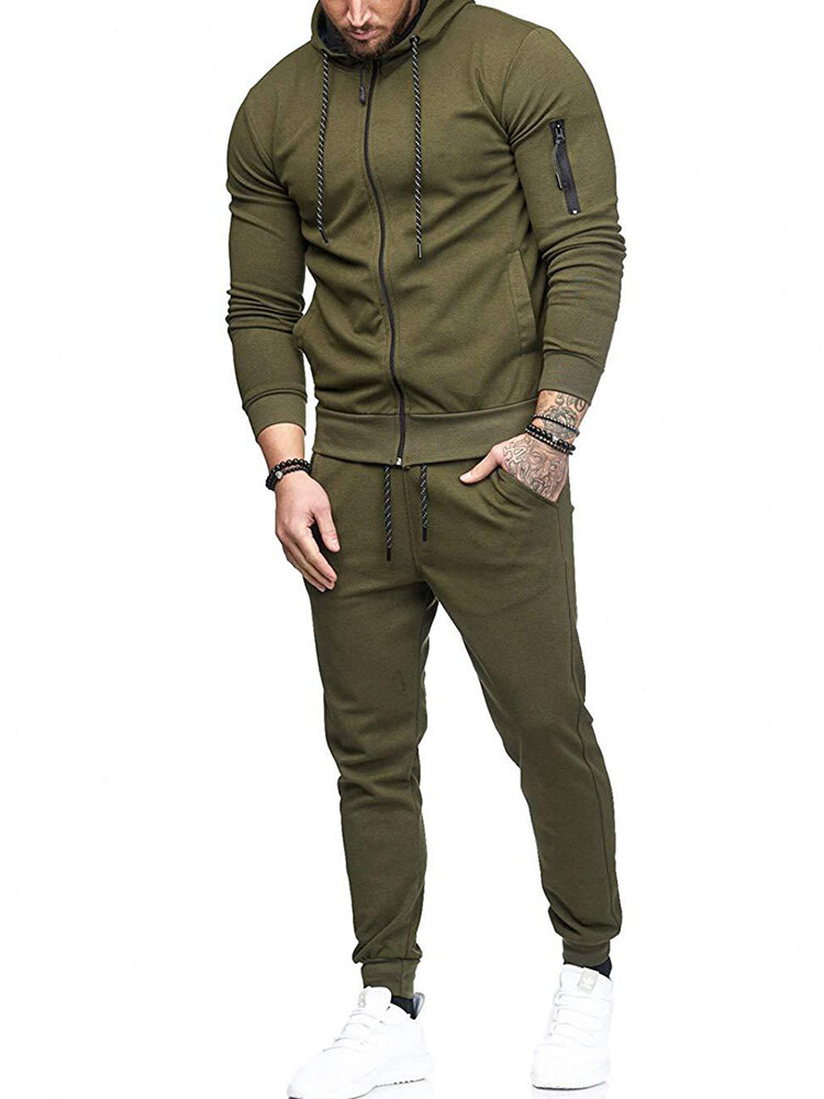 Mens Solid Color Hooded Sweatshirts Elastic Waist Pants Two Pieces Outfits