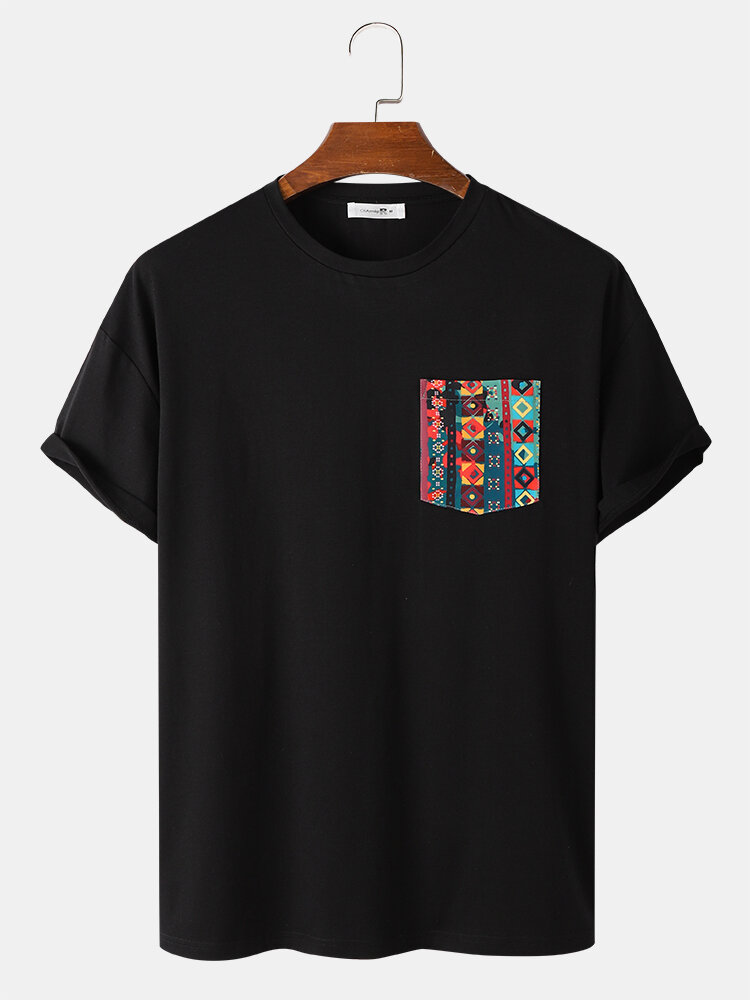 Mens Colorful Geo Print Patched Pocket Loose Short Sleeve T-Shirts