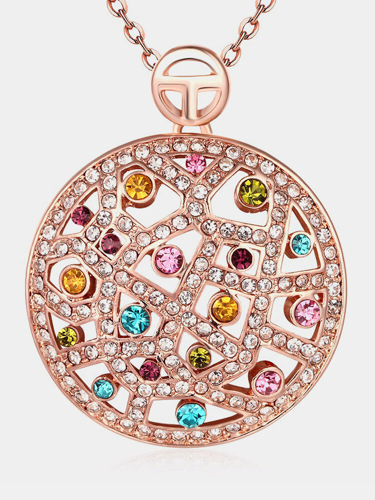 Bohemian Luxury Necklace Hollow Circle Rhinestone Necklace for Women Gift