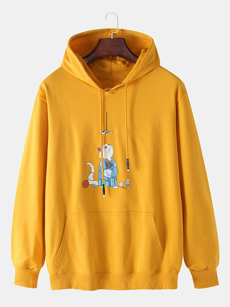 Mens Cotton Cartoon Cat Print Solid Color Drawstring Hoodies With Muff Pocket