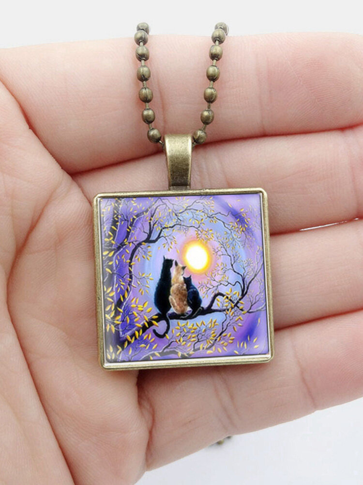 Vintage Square Glass Printed Women Necklace Month Black Cat Pendant Sweater Chain